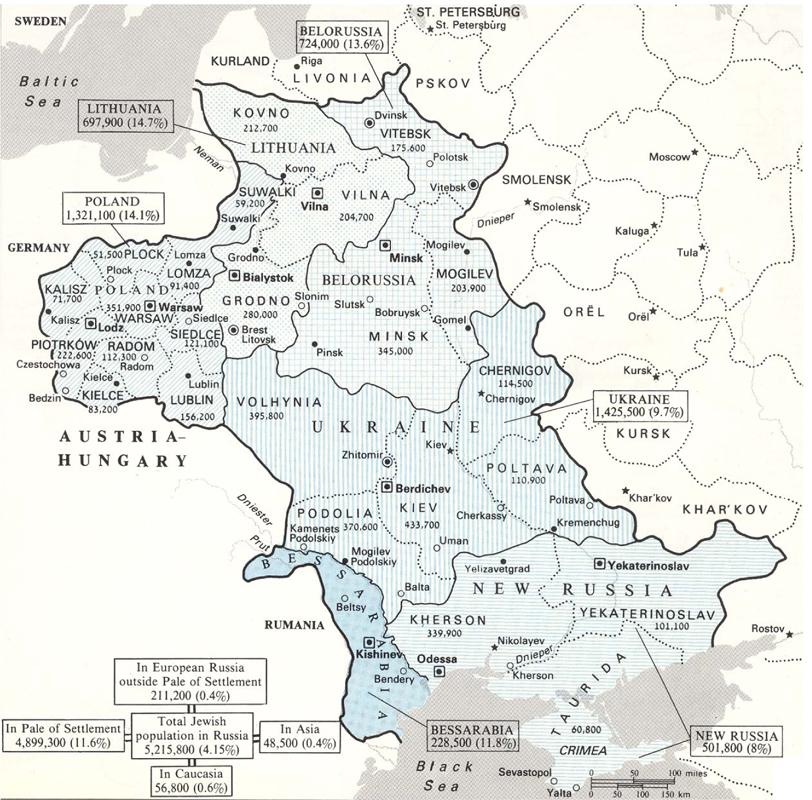 1. Vom Ende des 18. Jahrhunderts bis zum Beginn des 1. Weltkriegs war das Wohn- und Arbeitsrecht für jüdische Untertanen des Zaren bis auf wenige Ausnahmen auf einen Streifen, der von der Ostsee im Norden bis zur Krim im Süden reichte, beschränkt: Der Ansiedlungsrayon. Hier lebten rund 5 Millionen Juden, was rund 12% der Bevölkerung des Gebiets ausmachte.
